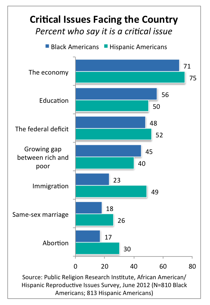 PRRI 2012 Reproductive Survey_critical issues facing the country by race
