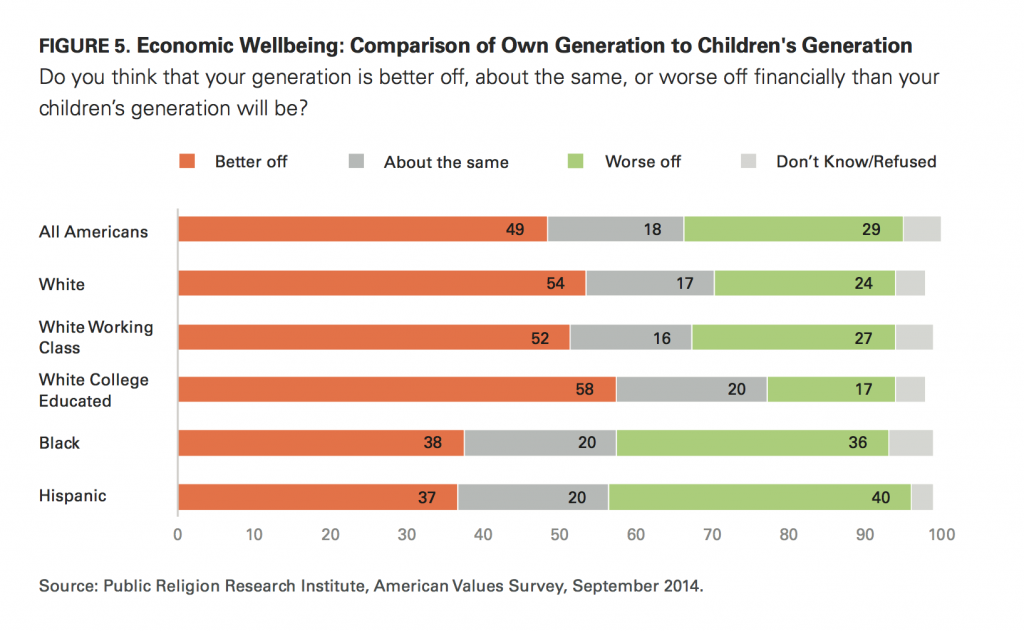 PRRI AVS 2014 personal economic wellbeing vs childrens generation by race