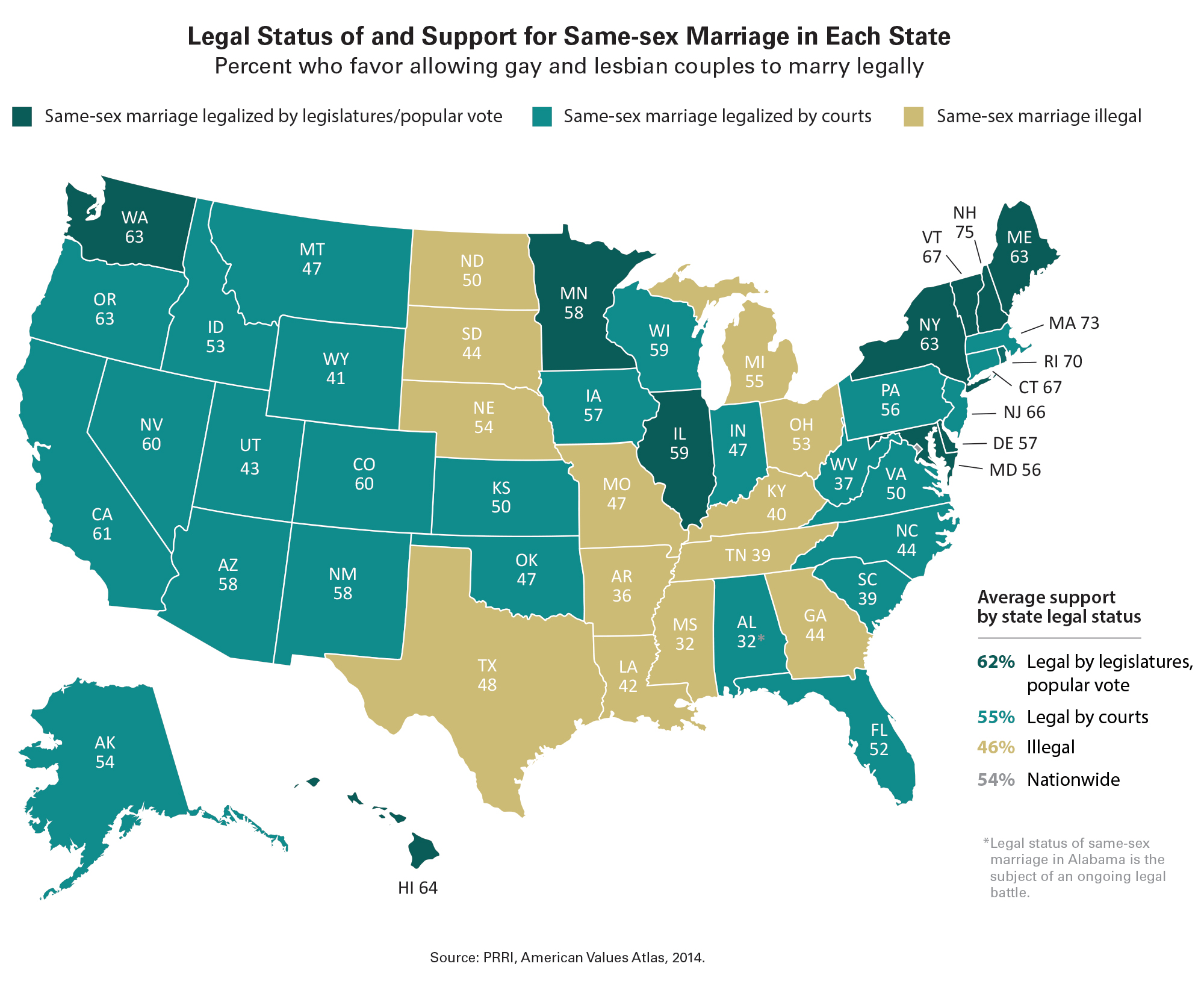 from Joey what are the states that allow gay marriage