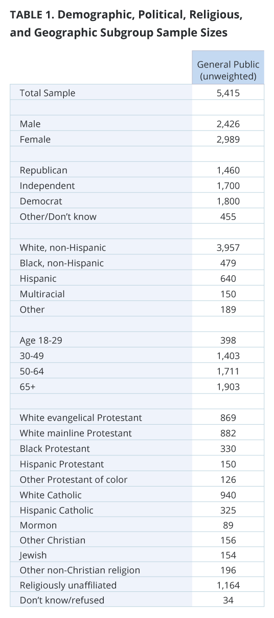 Demographic, Political, Religious, and Geographic Subgroup Sample Sizes